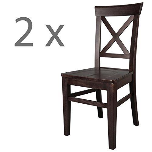 Schwarzwald Massivholz Esszimmerstuhl ST24 Anastasia Holzstuhl belastbar bis 150 kg Gastro Qualität in 3 Farben (2 Stühle, Wenge)