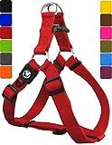 DDOXX Hundegeschirr Step-In Nylon in vielen Farben & Größen für kleine, mittelgroße & große Hunde | Geschirr Hund klein groß verstellbar | Brustgeschirr Welpen Auto | Rot, M