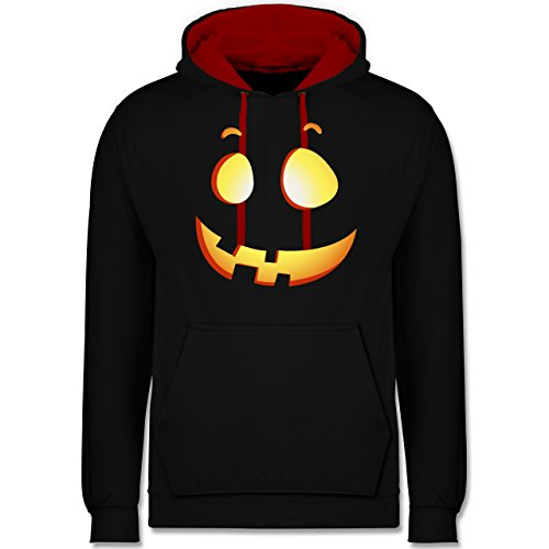 Shirtracer Halloween - süßer Halloween-Kuerbis Kinder - S - Schwarz/Rot - JH003 - Kontrast Hoodie