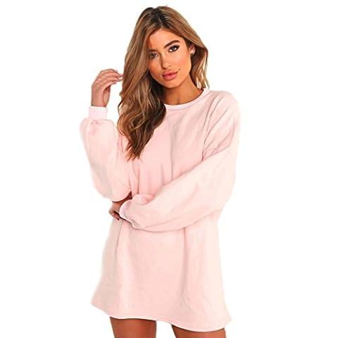 Hot Sale!Hansee Women Long Sweatshirt Long Sleeve Solid Pullovers Crew Neck Jumper (XL, Pink)