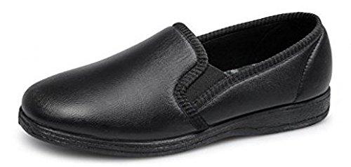 Pantofole uomo pelle Softie HADLEY doppio tassello con suola in gomma Black