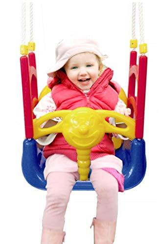 3 in 1 Schaukel Babyschaukel Babysitz verstellbar und mitwachsend kippsicher durch Seitenteile Schaukelsitz Gartenschaukel für Baby und Kinder mit Rückenlehne Anschnallgurt drinnen draußen Türrahmen