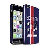 eSwish Personnalisé Kit Maillot Football Euro Personnalisé Brillant Coque Robuste pour Apple iPhone 4/4S / Bleu Rouge Design/Initiales/Nom/Texte Antichoc Etui/Housse/Case