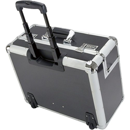 ALUMAXX Pilotenkoffer C-2 mit Trolley und verstärkten Kanten Aluminium silber-carbon 45129 -