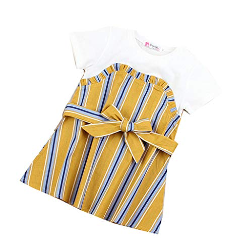 JUTOO Sommer Kinder Baby Mädchen Splice Princess Dress A-Linie Kleid Kurzarm Partykleid (Gelb,80)