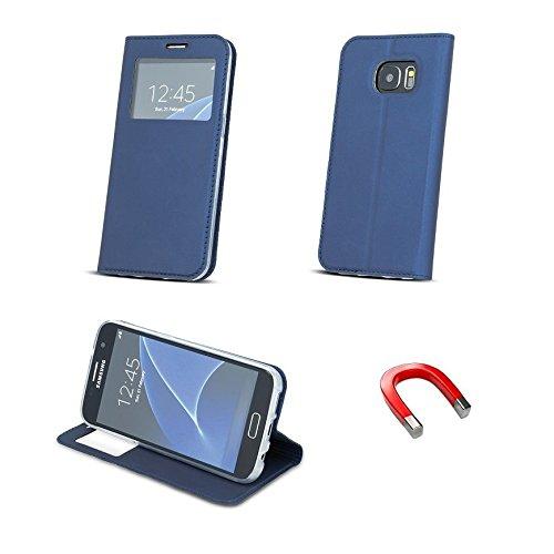 """BOOK CASE SMART LOOK FENSTER für Apple iPhone 6 4,7"""" Apple iPhone 6S Cover Handy Tasche Flipcase Etui Buchform Kunststoff TPU Halterung für Kreditkarten (dunkel blau) dunkel blau"""