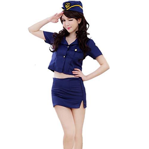 WESEEDOO Sexy Body Dessous Sexy Spitze Bodysuit Sexy Uniform Spitze Negligee Nachtclub Stewardess Uniform Sexy Dessous Set Cosplay Kostüme Minikleid Sex Rollenspiele - Hostess Sexy Kostüm