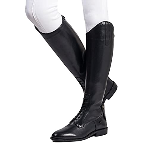 Ladies Tall equestre equi-leather Walking Outdoor Tinta Unita/Lace Boot, nero - Dressage Horse Tack