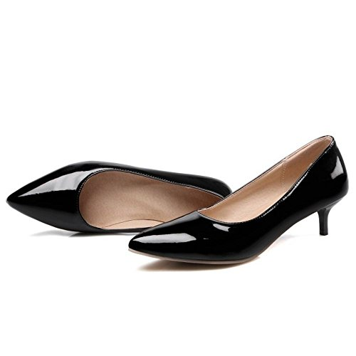 TAOFFEN Femmes Chaussures Western Kitten Heel A Enfiler Pointu Escarpins Soiree Noir