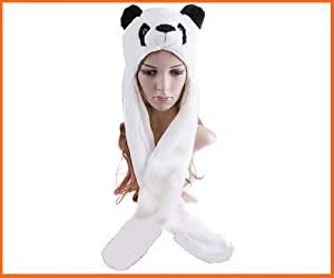 Thecutehats Panda Hat With Long Mittens Plushy Animal Cap