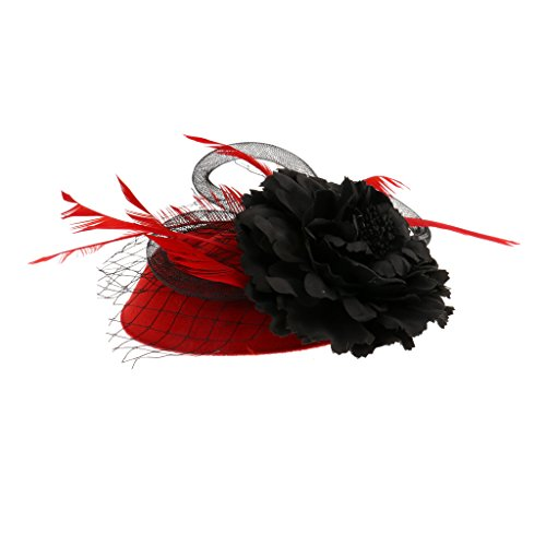 Generic Womens Damen Feder-Mesh Fascinator Hut Brosche Pin Tea Party Derby Hochzeit Zubehör - (Hut Derby Rot)