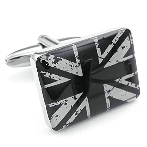 Adisaer Stainless Steel Mens Shirts Cufflinks Square Flag Silver Black Business Cuff Links