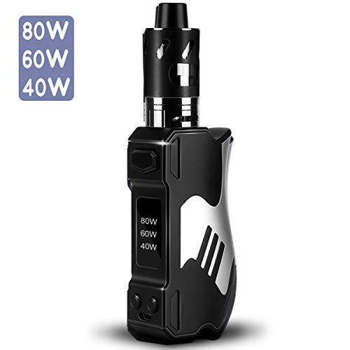 E Zigarette Starter Set/E Shisha,Elektrische Zigaretten Starterset DORNVAP X28 80W Mod Box Kit mit 2500mAh Eingebaute Akku, 2,0 ml Verdampfer 0,5 Ohm Verdampferkopf, ohne Nikotin, Schwarz