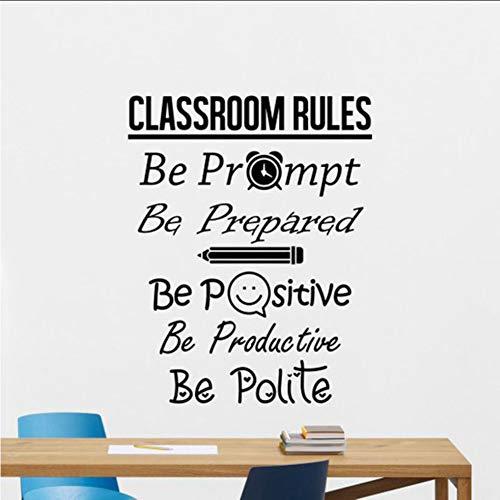 yiyiyaya Klassenzimmer Regeln Wandtattoo Zeichen Positive Poster Bildung Schule Zitat Lehrer Idee Vinyl Aufkleber Decor Wandkunst Wandbild 42 * 53 cm