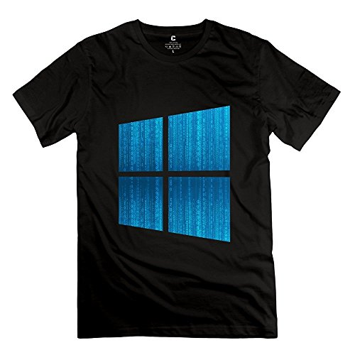 Preisvergleich Produktbild Sixtion Geek Microsoft Windows Win 10 Interface Men's Tshirt Black, eBlack, M