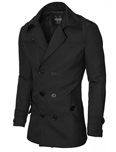 Mantel Herren Slim Fit Business Doppelreiher von MODERNO (MOD13538C) Schwarz EU L