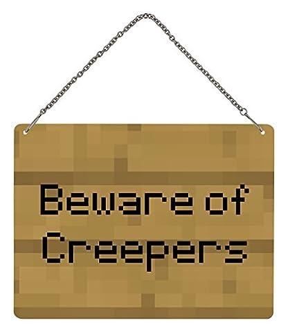 Grindstore Plaque décorative métallique à suspendre avec inscription «Beware of Creepers» 20x 15cm