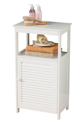 Premier Housewares – Armario de pie para baño con repisa y 1 puerta de persiana (83 x 45 x 30 cm), color blanco