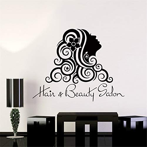 Crjzty Salon Aufkleber Beauty Aufkleber Hair Barber Shop Girl Poster Vinyl Wandkunst Aufkleber Parede Decor Dekoration Salon Aufkleber Lila 50x64cm