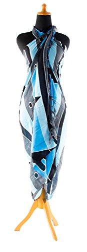 Sarong ca. 170cm x 110cm Handbemalt inkl. Sarongschnalle im Raute Design - Viele exotische Farben und Muster zur Auswahl - Pareo Dhoti Lunghi Blau Grau Schwarz