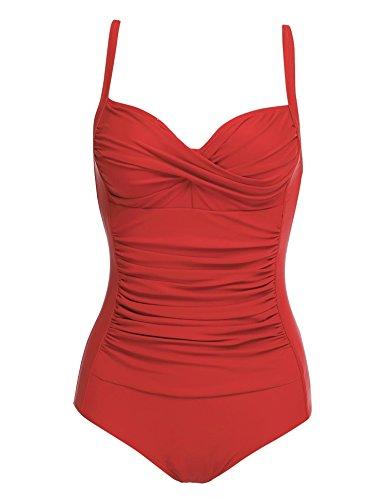 Imposes Mujer Bañadores de Una Pieza Playa Piscina Bikinis Ropa de Baño Rojo Talla-10