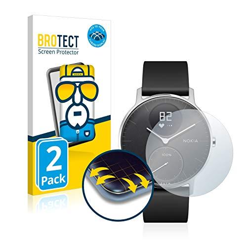 BROTECT Full Cover Schutzfolie kompatibel mit Withings Steel HR (36 mm) [2er Pack] - Full Screen Bildschirmschutz, 3D Curved, Kristall-Klar