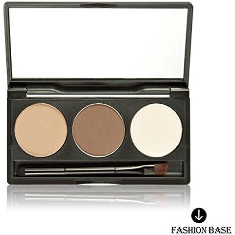 Fashion Base® 3colori per sopracciglia Pro torta polvere Eye Brow Tavolozza trucco ombreggiatura Kit Spazzola Con Specchio