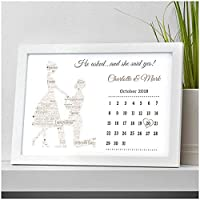 Personalised He Asked She Said Yes Engagement Gifts for Engaged Couples Congratulations Engagement Fiance Fiancee Gifts - A5, A4, A3 Prints and Frames - 18mm Wooden Blocks - FREE Personalisation