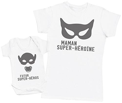 Zarlivia Clothing Futur Super-Héros & Maman Super-Héroïne - Ensemble Mère Bébé Cadeau - Femme T Shirt & bébé Bodys - Blanc - L & 0-3 Mois