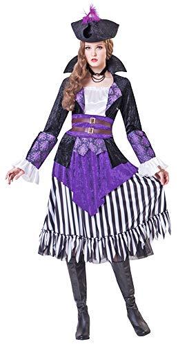 Crimson Kostüm Damen - Piratin Lady Crimson Kostüm für Damen - Schwarz Lila - Gr. M
