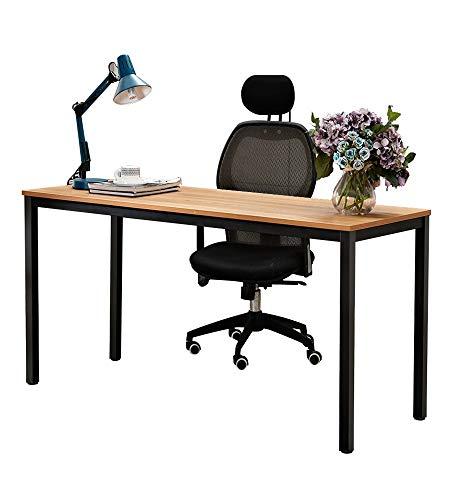 sogesfurniture Schreibtisch großer Computertisch 138x55cm PC Tisch Konferenztisch Bürotisch Arbeitstisch aus Holz und Stahl, einfache Montage,138x55x75cm, Teak & Schwarz AC3TB-140-SF