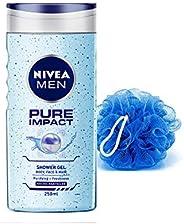 NIVEA Men Pure Impact Shower Gel, 250ml With Free Loofah
