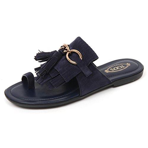 Tod's C9102 Infradito Donna Scarpa Sandalo Blu Frangia Blu Shoe Woman [35]