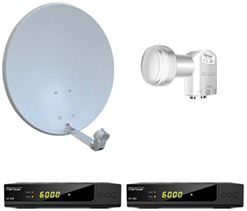 Opticum Digitale 2 Teilnehmer Satelliten-Komplettanlage HD AX 300 HDTV-Receiver (Twin-LNB, X60 cm Antenne) lichtgrau (TÜV zertifiziert)