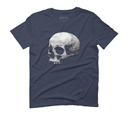 Halftone Human Skull Men's Graphic T-Shirt - Design By Humans Navy