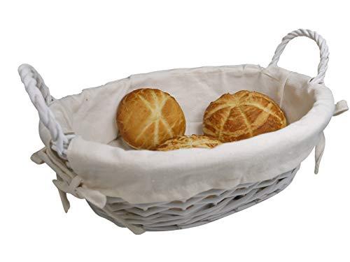 khevga Füllkorb oval Weide: Brotkorb weiß mit Stoffeinlage (1)