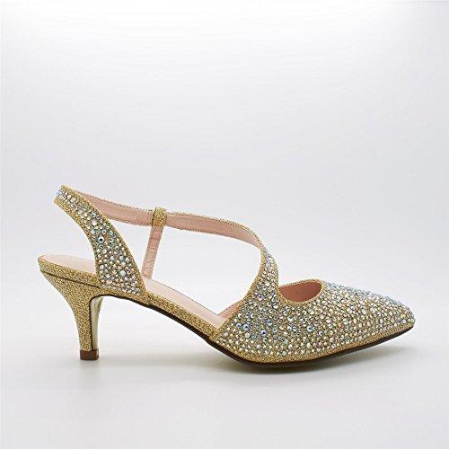 London Footwear , Ouvertes à larrière femme Or - doré