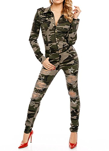 Damen Army Overall Camouflage Einteiler Kostüm Uniform Tarnmuster Slim Jumpsuite lang Modell A673 38 (Sexy Army Uniform)