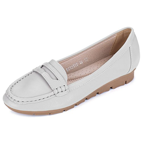 6 B(M) US, Gray : Allegra K Women's Rounded Toe Strap Front Detail Slip-On Loafers