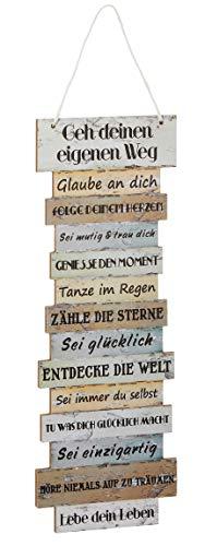 Bada Bing Wandschild Ca. 41, x 15 cm Lebenseinstellung Wünsche Bild Plankenoptik Spruch Schild Deko Geschenk Wandbild 09