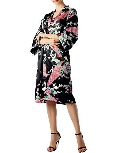 IB-iP Mujer Pavo Real Ciruelo florecen Estilo Kimono