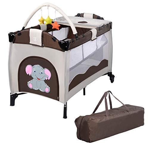 COSTWAY Reisebett klappbar | Babyreisebett Farbwahl | Kinderreisebett mit Rollen | Babybett | Kinderbett Inkl. Spielbogen/Tragetasche/Wickelauflage (Braun)