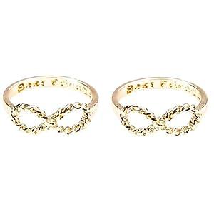EVRYLON Zwei Mädchen Ringe Freundschaft Beste Freunde für 2 Infinito X 2 BFF Paar Gold Farbe Größe Best Friends 50 (15.9)