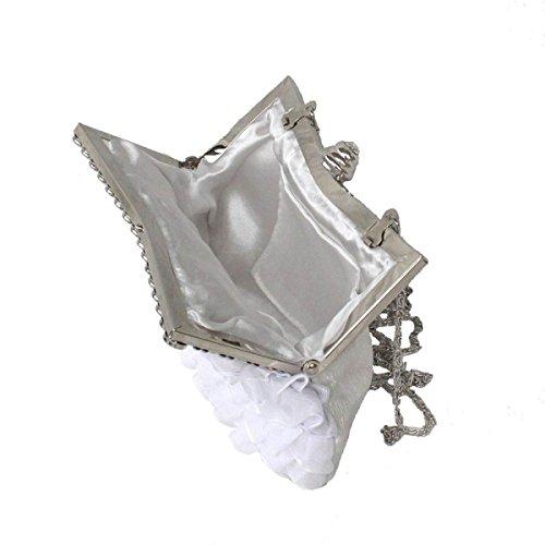 Bag Party Signore Cena Carino Seta Pizzo Fogliame Cosmetic Bag Mobile Musica Party White