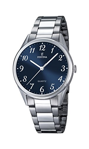 Festina Men's Quartz Watch with Blue Dial Analogue Display and Silver Stainless Steel Bracelet F16875/2