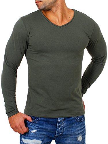 Young&Rich Herren Longsleeve Tiefer V-Ausschnitt Langarm Shirt Einfarbig Slimfit mit Stretchanteilen Uni Basic Deep V-Neck Tee Militär-Grün