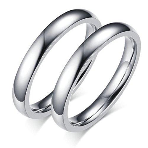 Bishilin 2 Pcs Edelstahl Paar Ring für Gay Edelstahlring Hochglanzpoliert Rund Breite 3MM Eherring Partnerringe Silber Größe 57 (18.1) & Größe 60 (Person Kostüme Lustige 2)