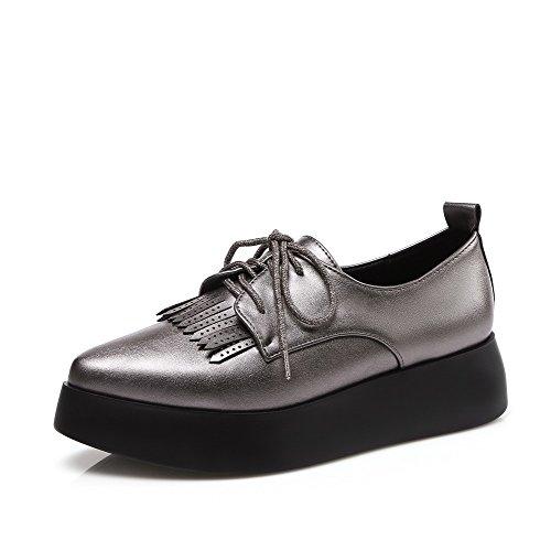 VogueZone009 Femme Pu Cuir Lacet Pointu à Talon Bas Houppe Chaussures Légeres Gris