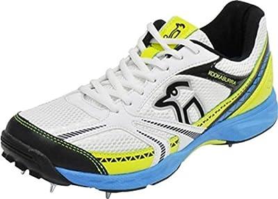 Kookaburra Pro 515Zapatilla de Cricket Spike Lace Up Zapatillas de running blanco/azul/amarillo