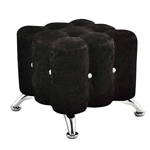 HBING Fußhocker Und Ottomane Kleiner Fußhocker Für Home Adult Bedroom Living Room Dressing Table Seat Stretch Round Pouffe Für Bedroom Home and Garden,Black -